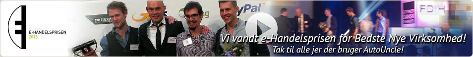 Vi vandt e-Handelsprisen for Bedste Nye Virksomhed! Tak til alle jer der bruger AutoUncle!